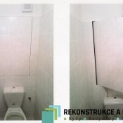 neviditelná dvířka pod obklady  (Bohnice  Zelenohorská ul. , byt 2+kk)